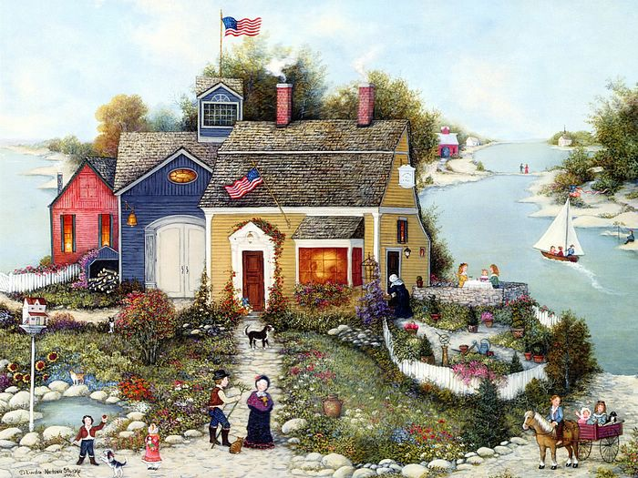 Summer Cottage Village House Americana Nostalgic Art Pictures
