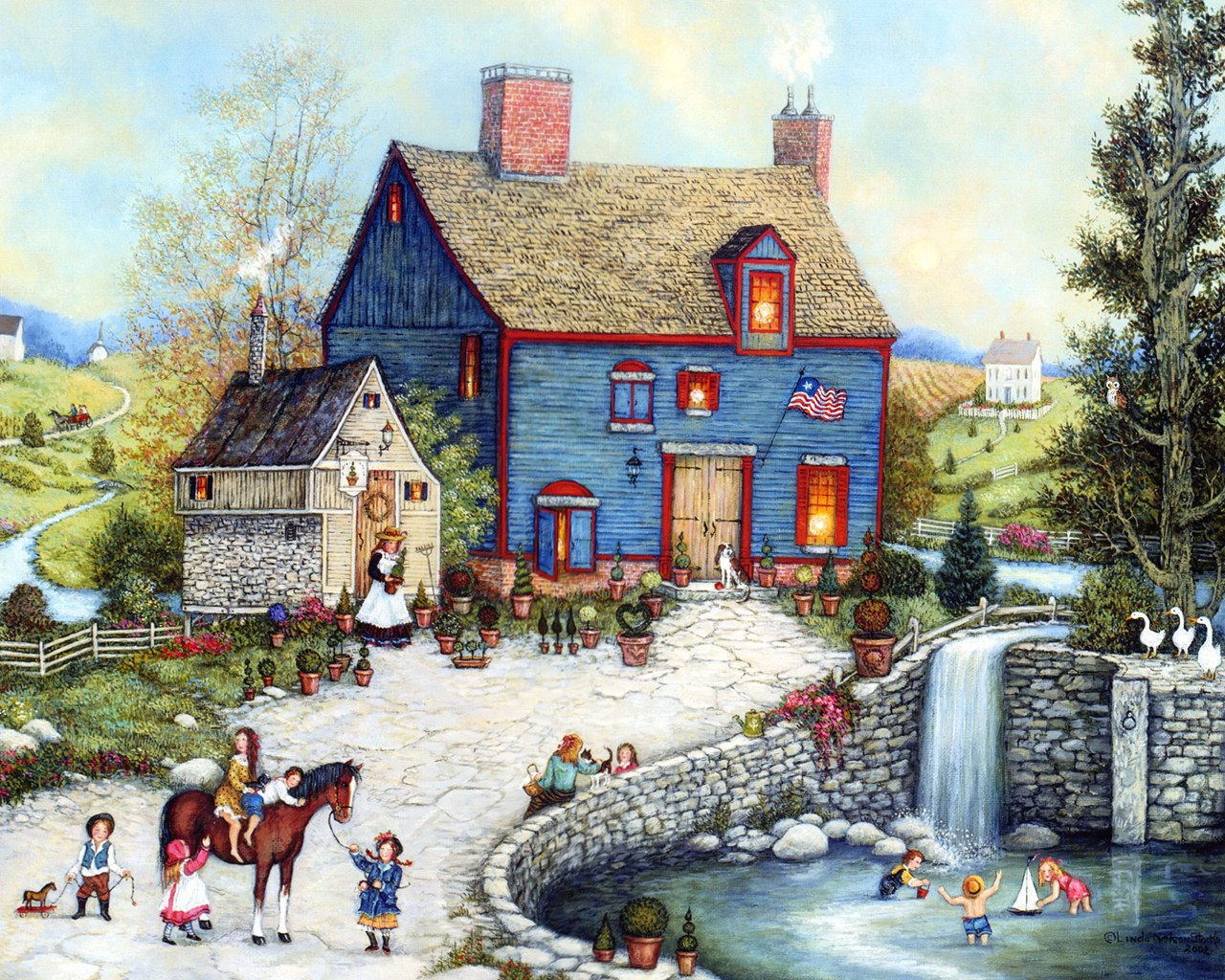 American folk art linda nelson stocks folk art calendar - Art village wallpaper ...