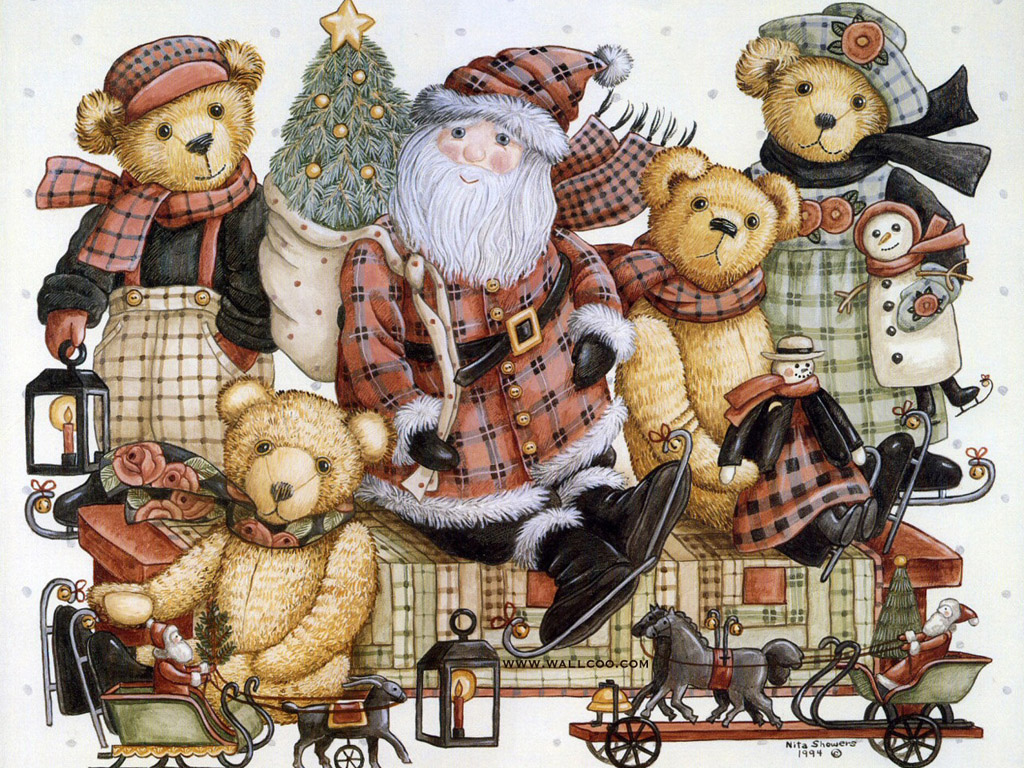 Christmas Teddy Bear Wallpaper: Teddys & Toys : Teddy Bear Paintings