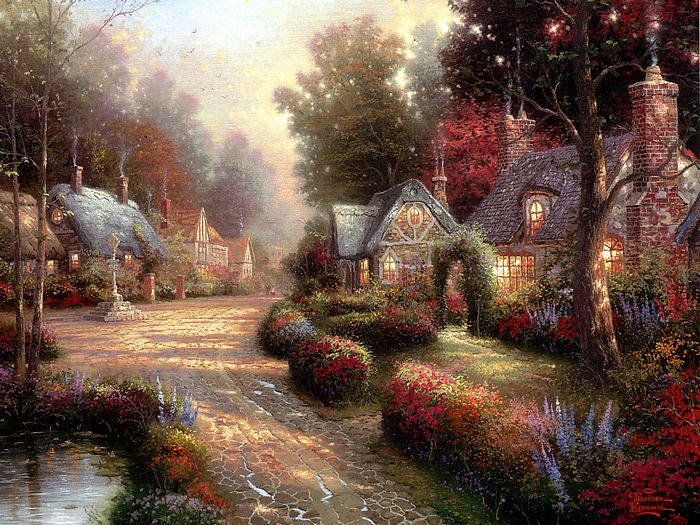 Paintings Of Cobblestone Paths : Along the lighted path heartwarming glowing cottages