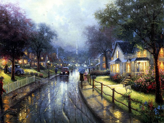 Awesome Fascinating Village   Romantic Painting Of Thomas Kinkade 1024*768