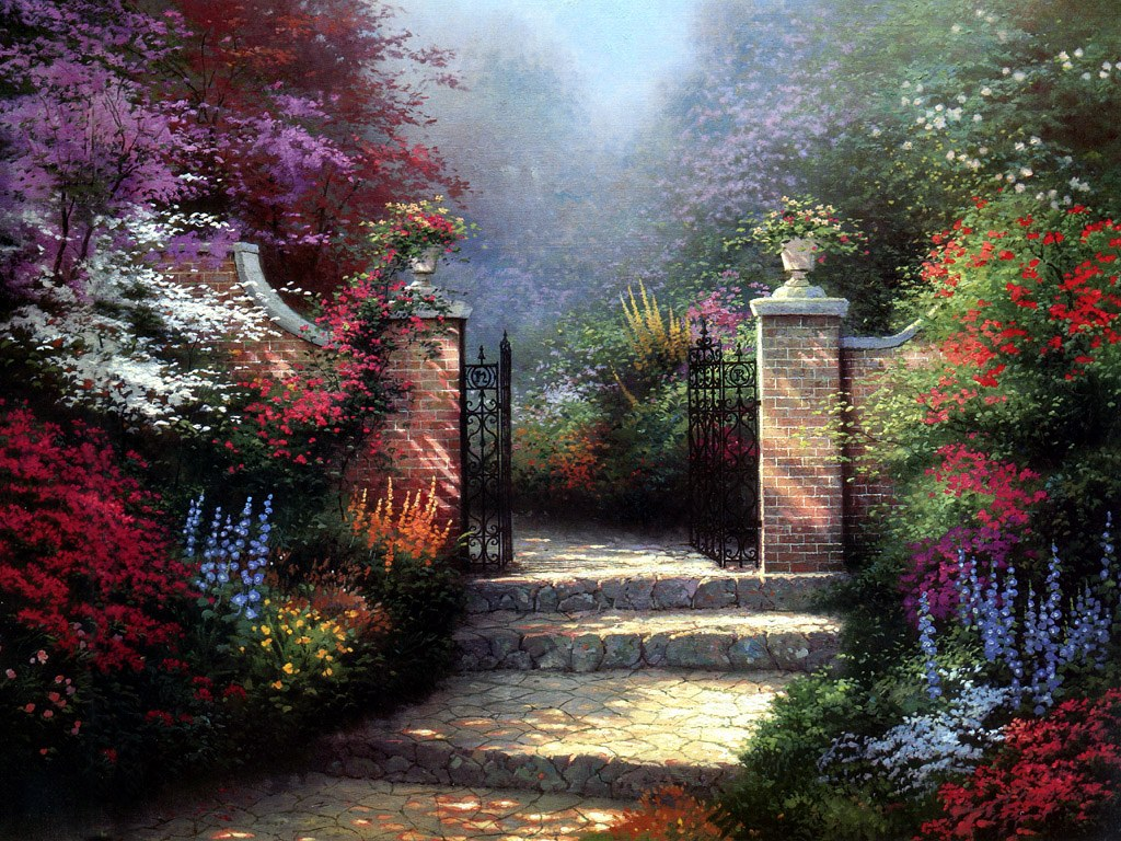 Charming Cottages & Gardens - Thomas Kinkade Art Painting