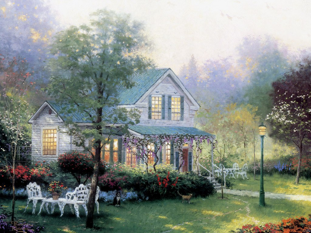 Charming cottages gardens thomas kinkade art painting for Wallpaper home is where the heart is