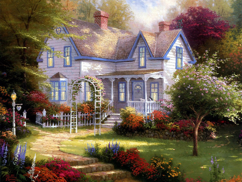 Charming Cottages & Gardens - Thomas Kinkade Art Painting Wallpapers ...