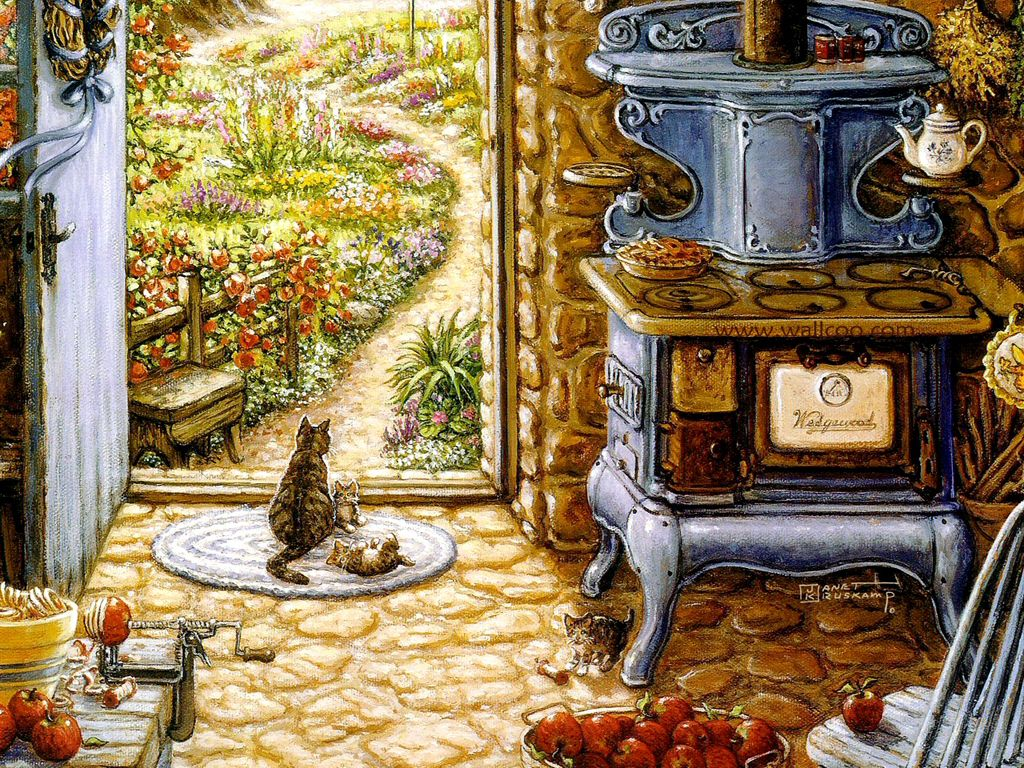 Gardens and florals art paintings romantic realistic for Country kitchen wallpaper ideas