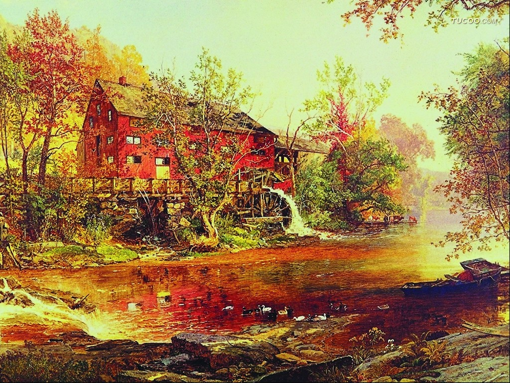 Of western landscape oil paintings 1024 768 no 34 wallpaper