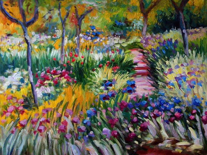 Impressionist painting : Claude Monet Paintings HD Wallpapers  - Claude Monet Painting : The Iris Garden at Giverny 1600*1200 9