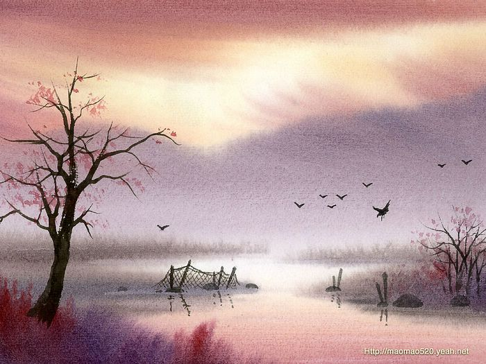 peaceful rural scene landscapes painting wallpaper 9