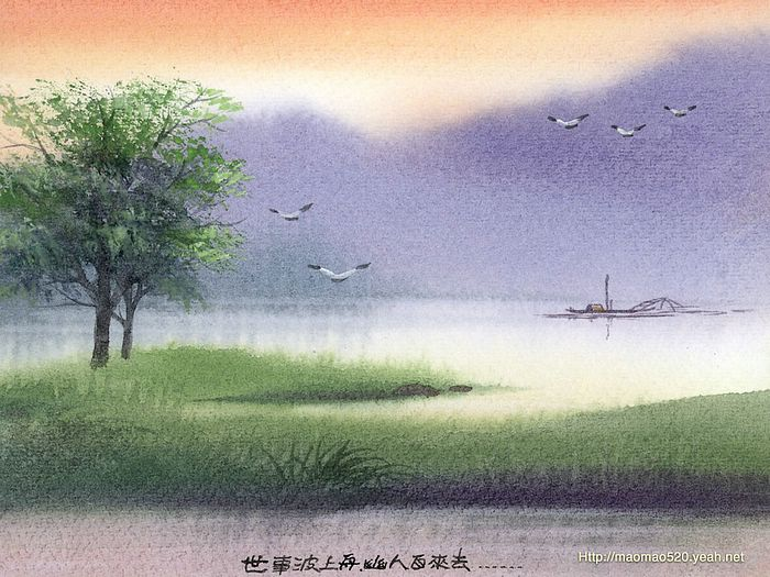 The dreamland water colour landscape paintings peaceful rural scene