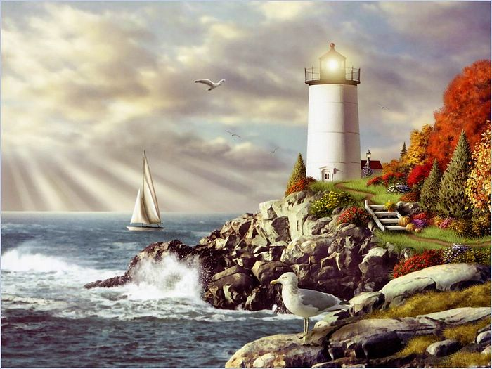 Beautiful Paintings Of Lighthouses   Lighthouse Painting   Beautiful