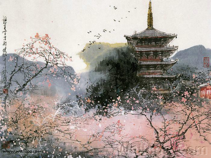 Blossoms, Brushes Painting, Liumaoshan, Chine Art, Chinese Painting ... Japanese Cherry Blossom Landscape Painting
