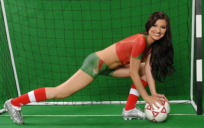 *900 World Cup Babes - Body Painting Jersey - 1440*900 World Cup body ...